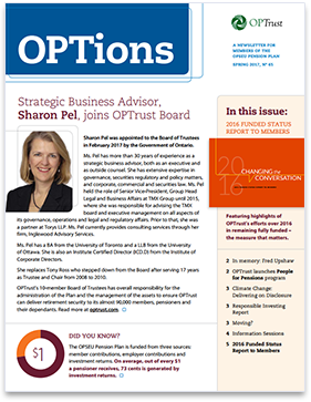 OPTions Spring 2017 newsletter cover