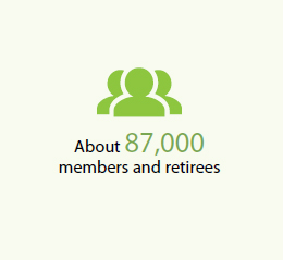 About 87,000 members and retirees