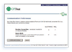 Online services communication preferences screen