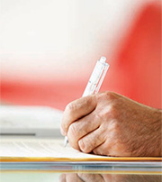 Man filling up application form