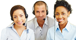 people answering phones using headsets